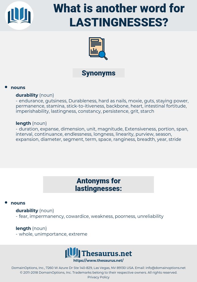 lastingnesses, synonym lastingnesses, another word for lastingnesses, words like lastingnesses, thesaurus lastingnesses