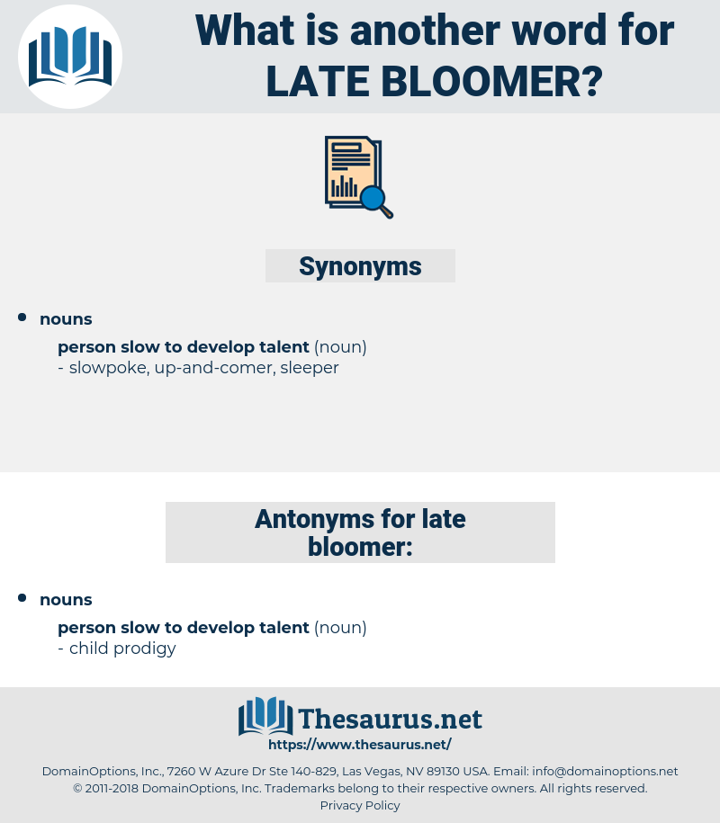 late-bloomer, synonym late-bloomer, another word for late-bloomer, words like late-bloomer, thesaurus late-bloomer
