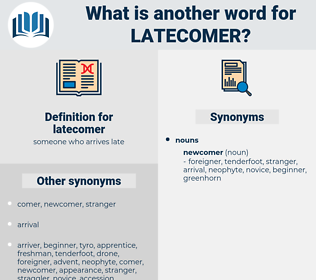 latecomer, synonym latecomer, another word for latecomer, words like latecomer, thesaurus latecomer