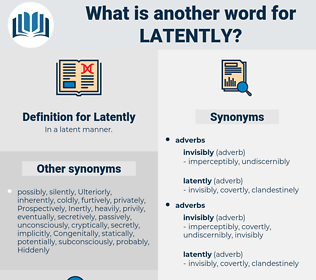 Latently, synonym Latently, another word for Latently, words like Latently, thesaurus Latently