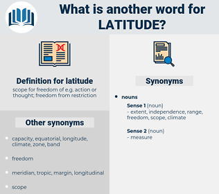 latitude, synonym latitude, another word for latitude, words like latitude, thesaurus latitude