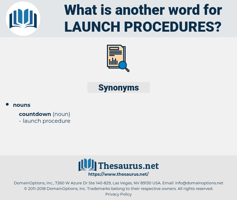 launch procedures, synonym launch procedures, another word for launch procedures, words like launch procedures, thesaurus launch procedures