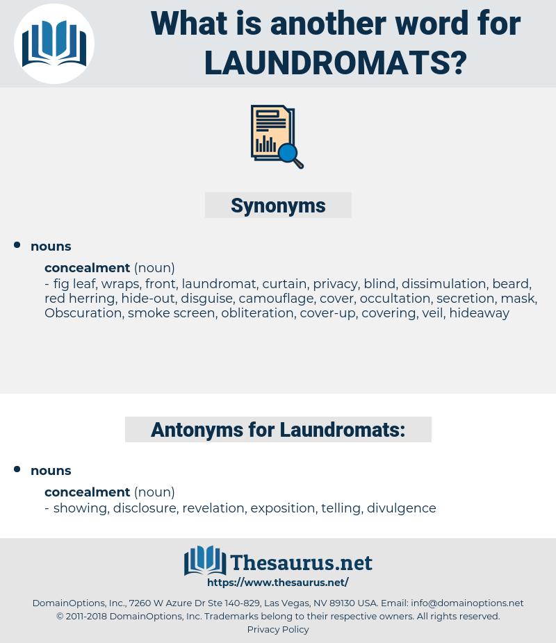 Laundromats, synonym Laundromats, another word for Laundromats, words like Laundromats, thesaurus Laundromats