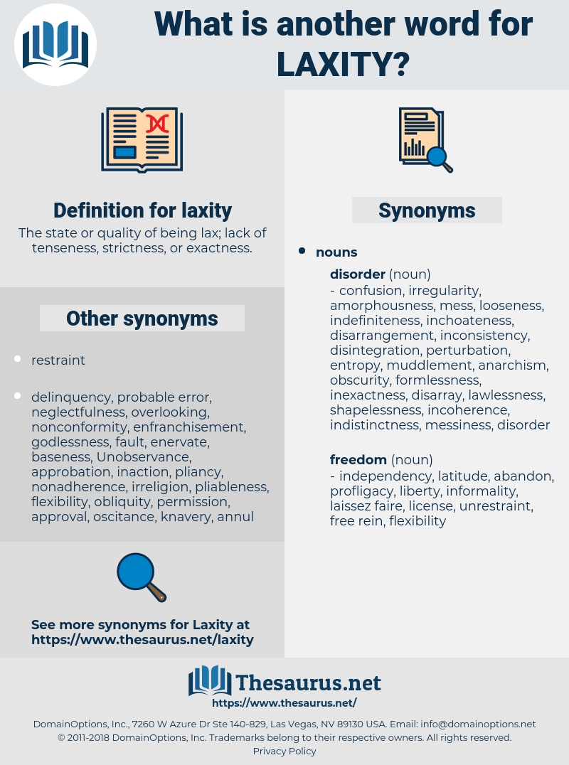 laxity, synonym laxity, another word for laxity, words like laxity, thesaurus laxity