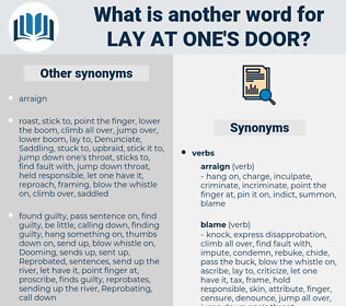 lay at one's door, synonym lay at one's door, another word for lay at one's door, words like lay at one's door, thesaurus lay at one's door