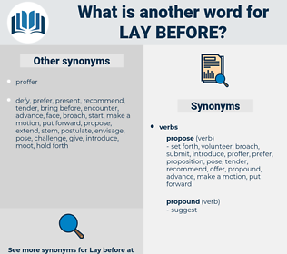 lay before, synonym lay before, another word for lay before, words like lay before, thesaurus lay before