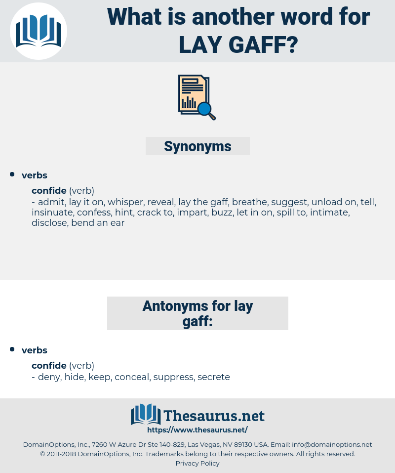 lay gaff, synonym lay gaff, another word for lay gaff, words like lay gaff, thesaurus lay gaff