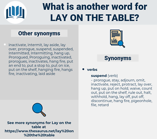 lay on the table, synonym lay on the table, another word for lay on the table, words like lay on the table, thesaurus lay on the table