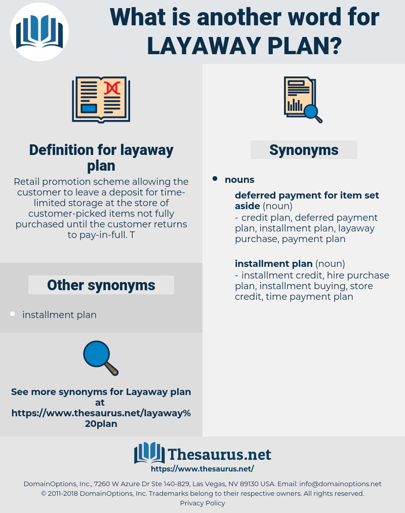 Synonyms For Layaway Plan Thesaurus Net