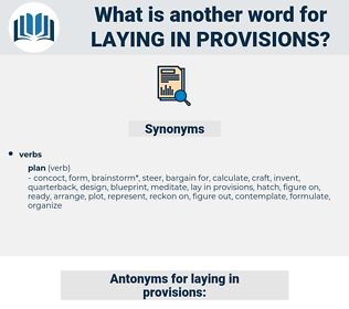 laying in provisions, synonym laying in provisions, another word for laying in provisions, words like laying in provisions, thesaurus laying in provisions