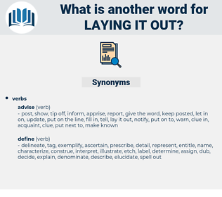 laying it out, synonym laying it out, another word for laying it out, words like laying it out, thesaurus laying it out