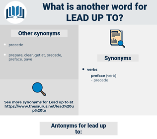 lead up to, synonym lead up to, another word for lead up to, words like lead up to, thesaurus lead up to