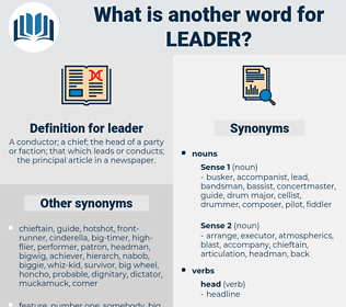 leader, synonym leader, another word for leader, words like leader, thesaurus leader