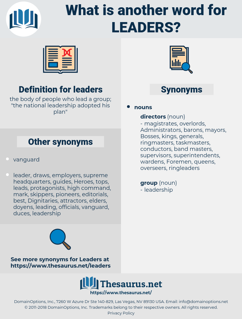 Synonyms for LEADERS - Thesaurus net