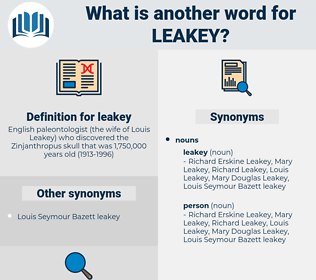 leakey, synonym leakey, another word for leakey, words like leakey, thesaurus leakey