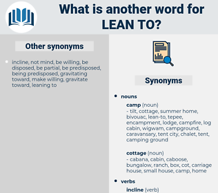 lean to, synonym lean to, another word for lean to, words like lean to, thesaurus lean to