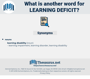 learning deficit, synonym learning deficit, another word for learning deficit, words like learning deficit, thesaurus learning deficit