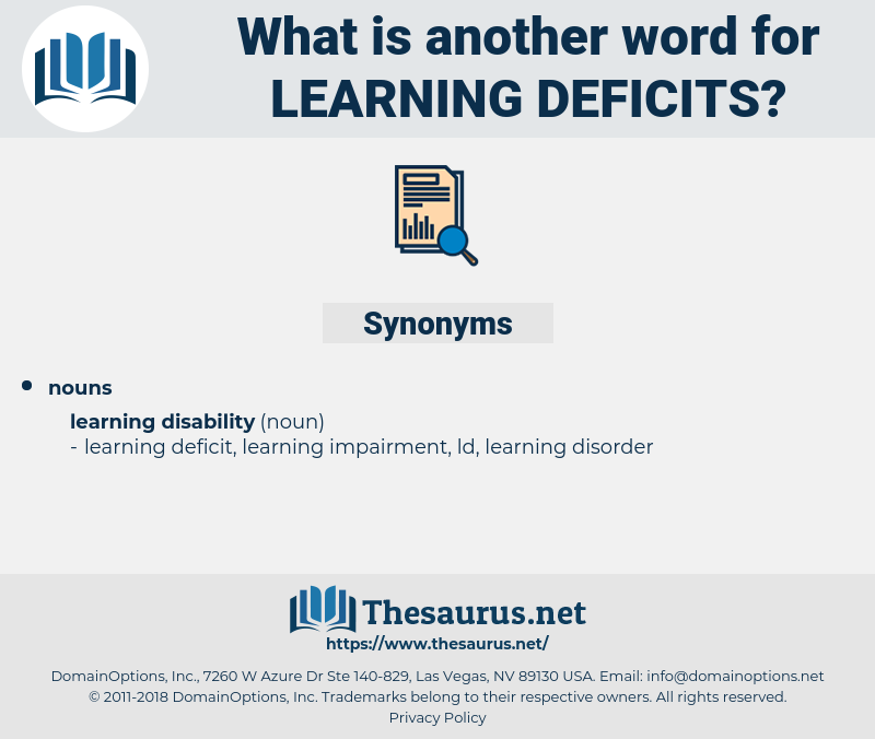 learning deficits, synonym learning deficits, another word for learning deficits, words like learning deficits, thesaurus learning deficits