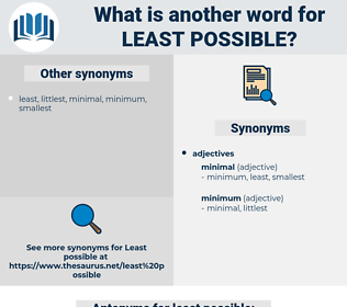 least possible, synonym least possible, another word for least possible, words like least possible, thesaurus least possible