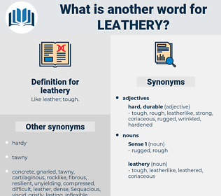 leathery, synonym leathery, another word for leathery, words like leathery, thesaurus leathery