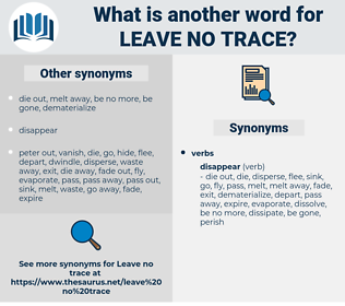 leave no trace, synonym leave no trace, another word for leave no trace, words like leave no trace, thesaurus leave no trace