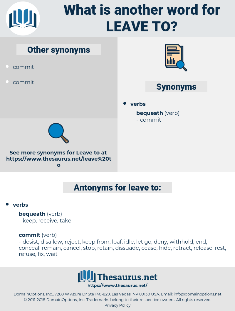 leave to, synonym leave to, another word for leave to, words like leave to, thesaurus leave to