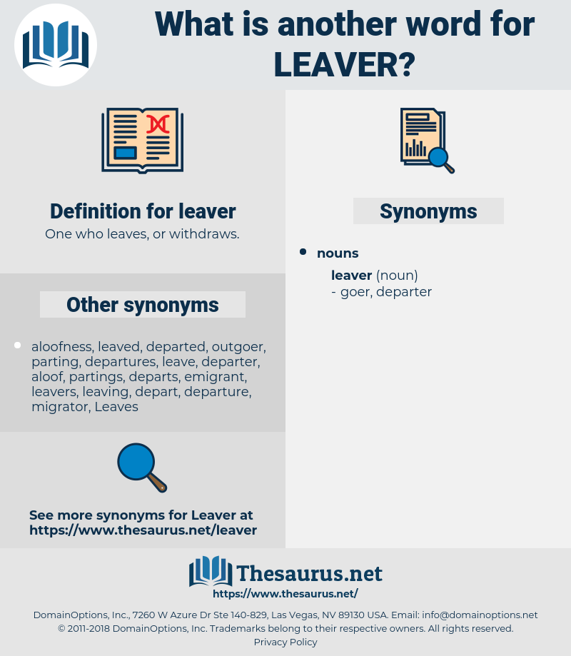 leaver, synonym leaver, another word for leaver, words like leaver, thesaurus leaver
