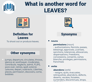 Leaves, synonym Leaves, another word for Leaves, words like Leaves, thesaurus Leaves