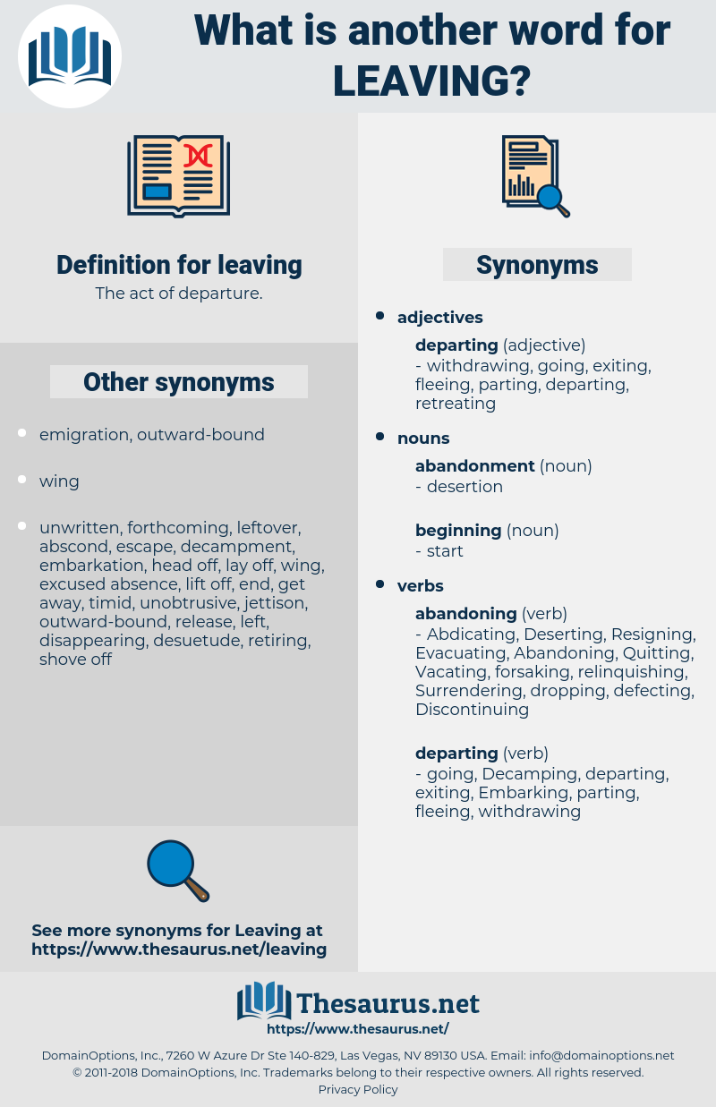 leaving, synonym leaving, another word for leaving, words like leaving, thesaurus leaving