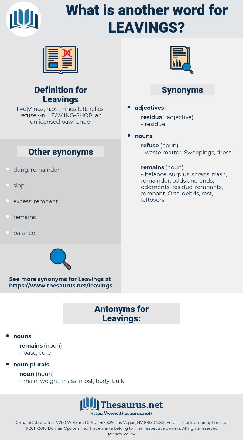 Leavings, synonym Leavings, another word for Leavings, words like Leavings, thesaurus Leavings