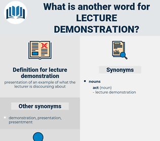 lecture demonstration, synonym lecture demonstration, another word for lecture demonstration, words like lecture demonstration, thesaurus lecture demonstration