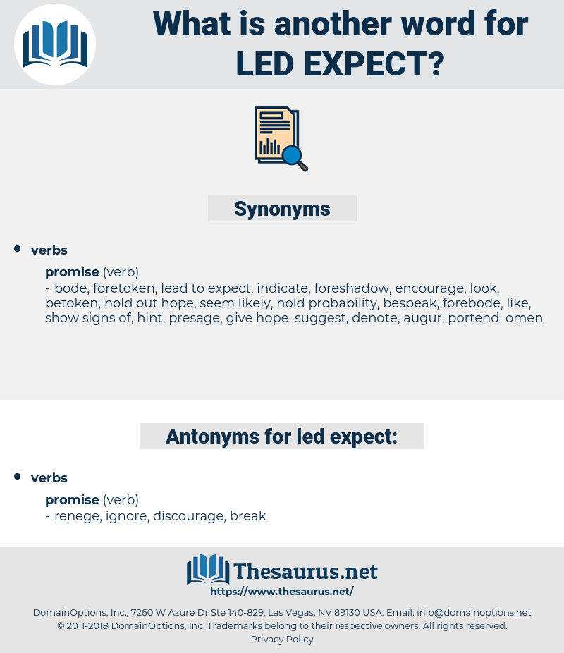 led expect, synonym led expect, another word for led expect, words like led expect, thesaurus led expect