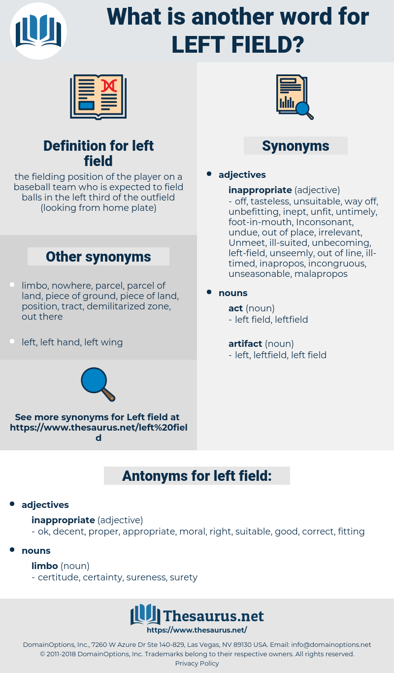 left field, synonym left field, another word for left field, words like left field, thesaurus left field