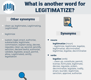 legitimatize, synonym legitimatize, another word for legitimatize, words like legitimatize, thesaurus legitimatize