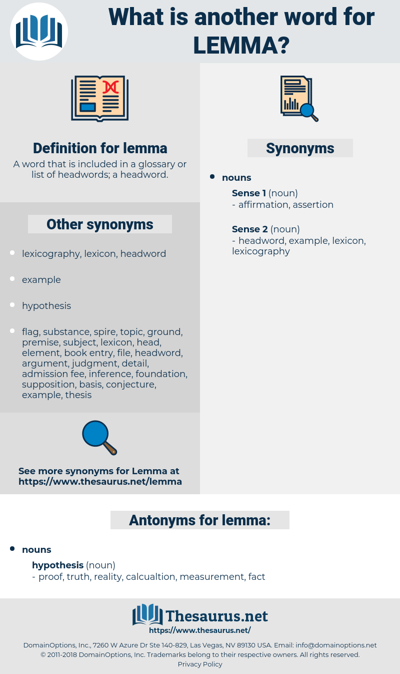 lemma, synonym lemma, another word for lemma, words like lemma, thesaurus lemma