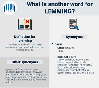 lemming, synonym lemming, another word for lemming, words like lemming, thesaurus lemming