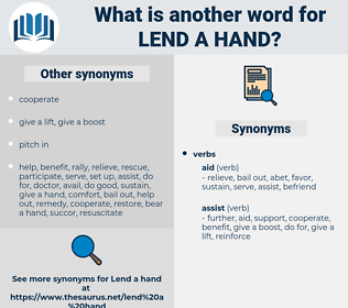 lend a hand, synonym lend a hand, another word for lend a hand, words like lend a hand, thesaurus lend a hand