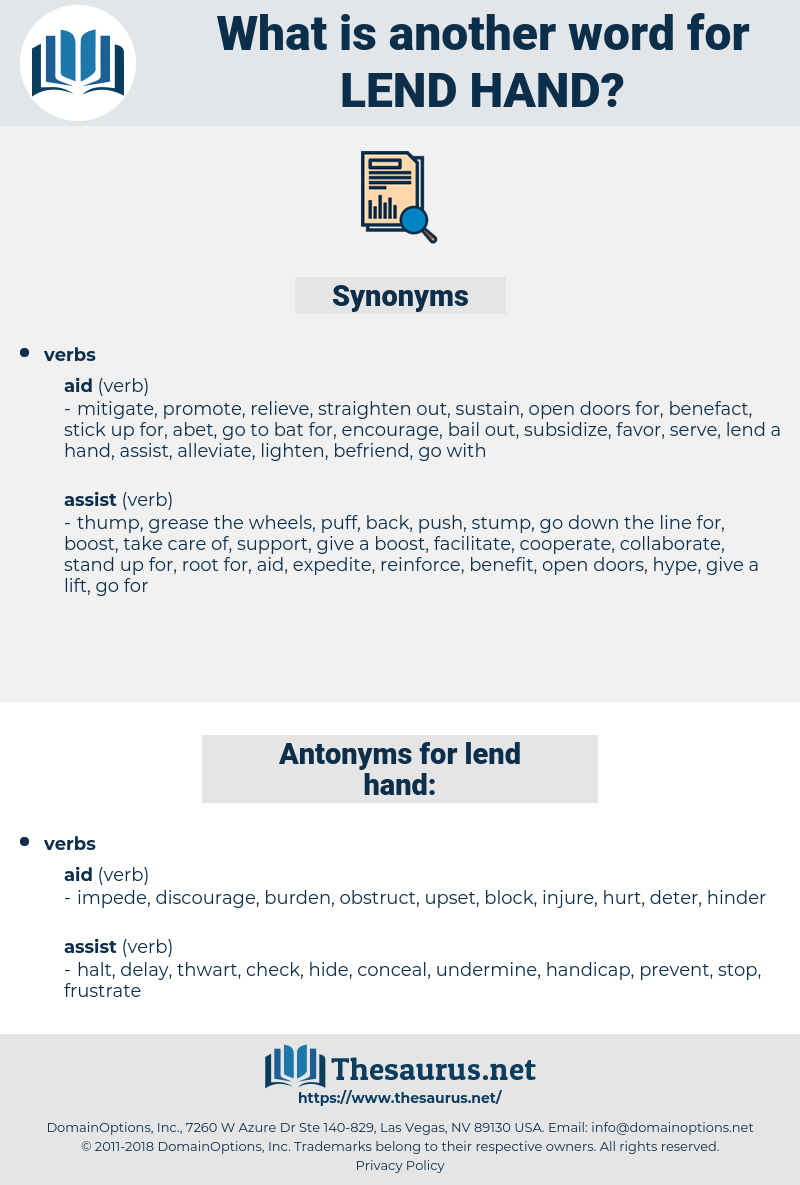 lend hand, synonym lend hand, another word for lend hand, words like lend hand, thesaurus lend hand