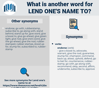 lend one's name to, synonym lend one's name to, another word for lend one's name to, words like lend one's name to, thesaurus lend one's name to