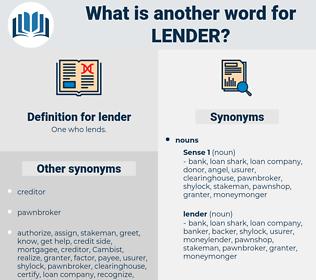 lender, synonym lender, another word for lender, words like lender, thesaurus lender