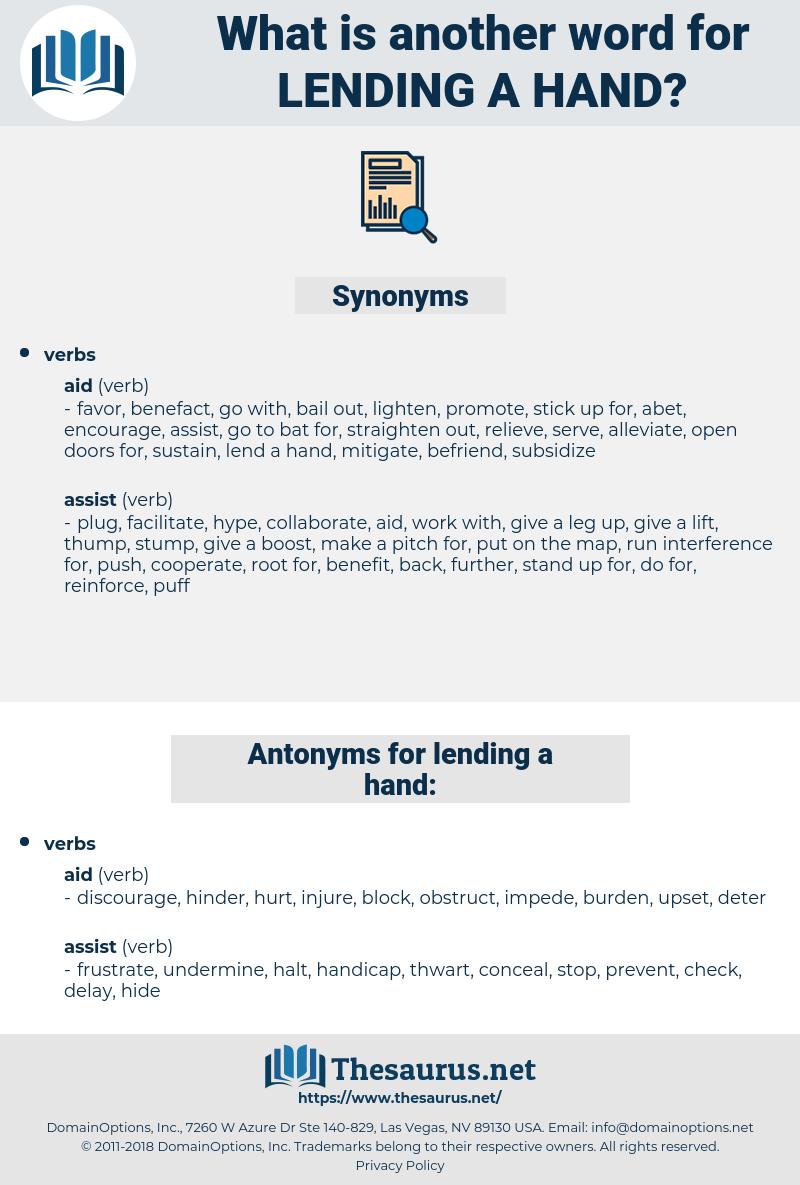 lending a hand, synonym lending a hand, another word for lending a hand, words like lending a hand, thesaurus lending a hand