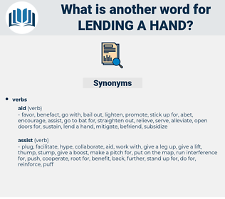 lending a hand, synonym lending a hand, another word for lending a hand, words like lending a hand, thesaurus lending a hand