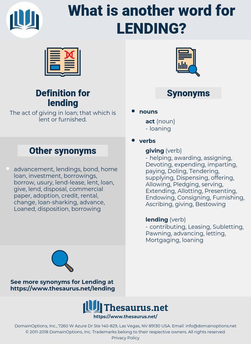 lending, synonym lending, another word for lending, words like lending, thesaurus lending