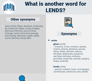 Lends, synonym Lends, another word for Lends, words like Lends, thesaurus Lends