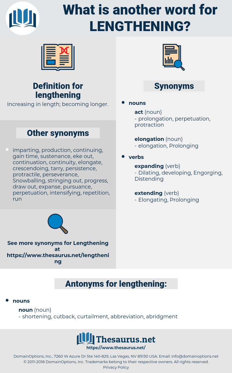 lengthening, synonym lengthening, another word for lengthening, words like lengthening, thesaurus lengthening