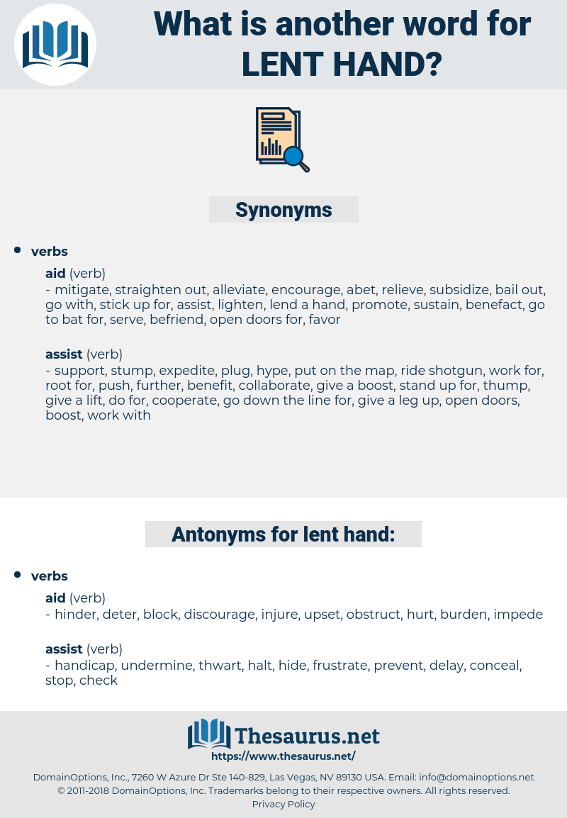 lent hand, synonym lent hand, another word for lent hand, words like lent hand, thesaurus lent hand