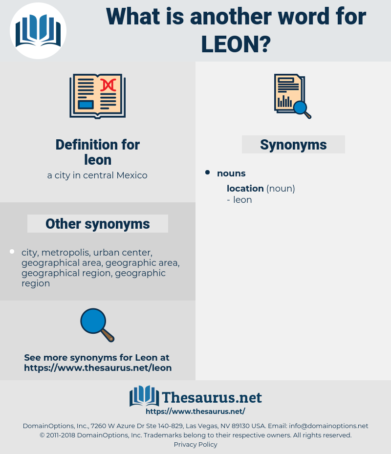 leon, synonym leon, another word for leon, words like leon, thesaurus leon
