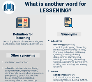 lessening, synonym lessening, another word for lessening, words like lessening, thesaurus lessening