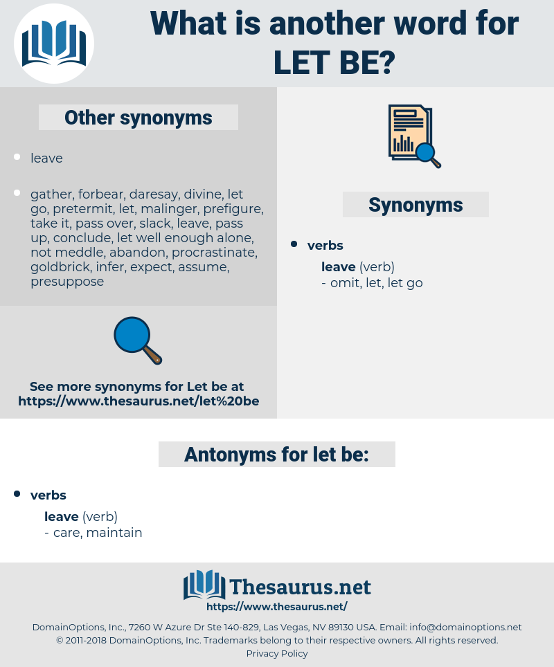 let be, synonym let be, another word for let be, words like let be, thesaurus let be