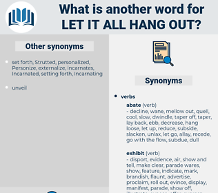 let it all hang out, synonym let it all hang out, another word for let it all hang out, words like let it all hang out, thesaurus let it all hang out